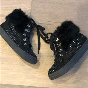 Black Rocker Studded High Tops with Faux Fur